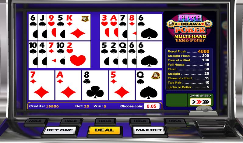 jeu five draw poker